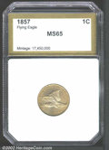 Additional Certified Coins: , 1857 1C Flying Eagle Cent MS65 Brown PCI (MS63). A well ...