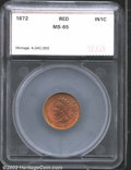 Additional Certified Coins: , 1872 1C Cent MS65 Red SEGS. Cherry-red in sheen, both ...