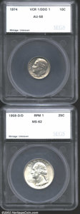 Additional Certified Coins: , 1974 Dime AU58 SEGS (AU58), Variety Coin Register-1/...