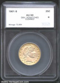 Additional Certified Coins: , 1901-S 25C Quarter AU50 Obverse Scratches, Cleaned SEGS (...