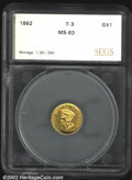 Additional Certified Coins: , 1862 $1 Gold Dollar MS63 SEGS (MS60 Cleaned). A well ...