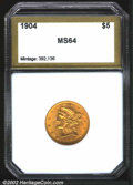 Additional Certified Coins: , 1904 $5 Half Eagle MS64 PCI (MS63). Well struck with even ...