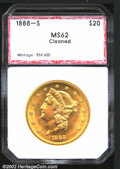 Additional Certified Coins: , 1888-S $20 Double Eagle MS62 Cleaned PCI (MS60 Cleaned). ...