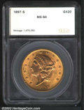 Additional Certified Coins: , 1897-S $20 Double Eagle MS64 SEGS (MS62). A lustrous and ...
