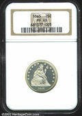 Proof Seated Quarters: , 1865 25C PR65 NGC. With smooth surfaces and some claim to ...