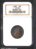 Proof Seated Quarters: , 1865 25C PR66 NGC. Final year of the No Motto design, ...