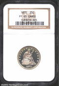 Proof Seated Quarters: , 1870 25C PR65 Cameo NGC. Very lightly toned with a hint ...