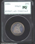 Proof Seated Quarters: , 1886 25C PR65 PCGS. The dusky rose-lilac surfaces betray ...