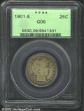 Barber Quarters: , 1901-S 25C Good 6 PCGS. With its low mintage and even ...
