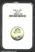 Washington Quarters: , 1932-D 25C MS64 NGC. Bright mint luster and mostly ...