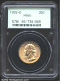 Washington Quarters: , 1932-D 25C MS65 PCGS. Nicely and originally toned in ...