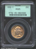 Washington Quarters: , 1932-S 25C MS65 PCGS. Thick mint frost glows through the ...