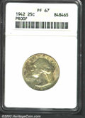 1942 25C PR67 ANACS. A well struck Superb Gem that has milky-lavender, green-gray, and russet patina. Immaculately prese...
