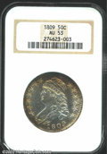 Bust Half Dollars: , 1809 50C AU53 NGC. O-109a, R.3. The borders have rich ...