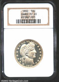 Proof Barber Half Dollars: , 1892 50C PR65 Cameo NGC. As the first Barber Half Dollar, ...