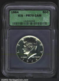 1964 50C PR70 Cameo ICG. The obverse has a couple of faint speckles of tan patina. A razor sharp example that has mild c...