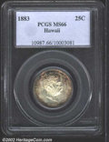 Coins of Hawaii: , 1883 25C Hawaii Quarter MS66 PCGS. Turquoise blue and ...