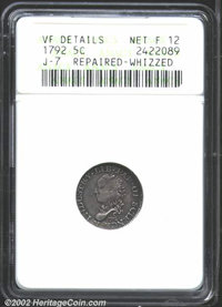 1792 H10C Half Disme, Judd-7, Pollock-7, R.3--Repaired, Whizzed--ANACS. VF Details, Net Fine12. The Half Dismes and Dism...