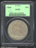 Seated Dollars: , 1859 $1 AU55 PCGS. Deep milky green-gray patina. A ...