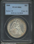 Seated Dollars: , 1860 $1 MS61 PCGS. Light gold patina at the margins. A ...