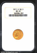 Indian Quarter Eagles: , 1911-D $2 1/2 MS65 NGC. The first of only three Quarter ...