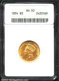 Three Dollar Gold Pieces: , 1854 $3 AU50 ANACS. A lightly worn example of the ...