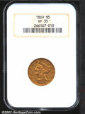 Liberty Half Eagles: , 1869 $5 VF35 NGC. The 1869 has one of the lowest mintages ...