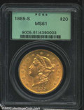 1885-S $20 MS61 PCGS. Well struck and quite clean for the grade with subdued surfaces. From the Midwest Collection....(P...