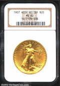 High Relief Double Eagles: , 1907 $20 High Relief, Wire Rim MS62 NGC. Fully struck ...