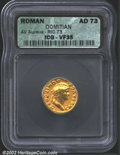 Ancients:Roman, Domitian, A.D. 81-96. AV aureus minted as Caesar, A.D. 73. ...