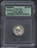 Ancients:Roman, Domitian, A.D. 81-96. AR denarius minted A.D. 87. Laureate ...