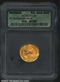 Ancients:Roman, Honorius, A.D. 393-423. AV solidus minted at Ravenna, c. A....