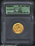 Ancients:Roman, Honorius, A.D. 393-423. AV solidus minted at Rome. ...