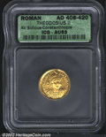 Ancients:Roman, Theodosius II, A.D. 402-450. AV solidus minted at ...