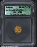 Ancients:Roman, Anthemius, A.D. 467-472. AV tremissis minted at Rome. ...