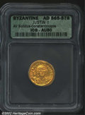 Ancients:Byzantine, Justin II, A.D. 565-578. AV solidus attributed to ...