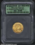 Ancients:Byzantine, Maurice Tiberius, A.D. 582-602. AV light weight solidus of ...