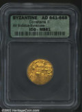 Ancients:Byzantine, Constans II, A.D. 641-668. AV solidus minted at Syracuse, ...