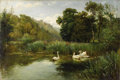 Fine Art - Painting, European:Other , CONTINENTAL SCHOOL (Late Nineteenth Century). Swans In ALake. Oil on canvas. 24 x 36 inches (61 x 91.4 cm). Inscribedl...