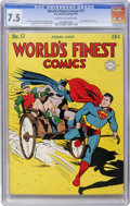 Golden Age (1938-1955):Superhero, World's Finest Comics #17 (DC, 1945) CGC VF- 7.5 Cream to off-white pages....