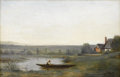 Fine Art - Painting, European:Antique  (Pre 1900), PAUL DÉSIRÉ TROUILLEBERT (French 1829-1900). Landscape With ManIn A Boat. Oil on canvas. 10 x 15-3/4 inches (25.4 x 40 ...