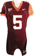 Football Collectibles:Balls, 2005 Marcus Vick Game Worn Jersey. Like the Mannings, the Vick family seems to have quarterbacking in its blood. Here we f...