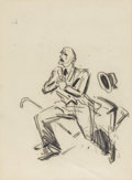 Fine Art - Painting, American:Modern  (1900 1949)  , GEORGE BENJAMIN LUKS (American 1867-1933). Chair Warmer,1924. Soft graphite on paper. 9-3/4 x 7-1/4 inches, (sight) (24...