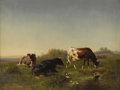 Fine Art - Painting, European:Antique  (Pre 1900), DUTCH or CONTINENTAL SCHOOL (Nineteenth Century). PossiblyVerboeckhoven. Cattle In A Meadow. Oil on canvas. 18 x 24inc...