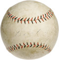 Autographs:Baseballs, Circa 1918 Babe Ruth Single Signed Baseball. Magnificent andancient rarity dates to the age when Babe Ruth was known as a ...