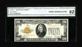 Small Size:Gold Certificates, Fr. 2402* $20 1928 Gold Certificate. CGA Crisp Uncirculated 62.. The $20 Small Size Gold star is an easy note to find in gra...