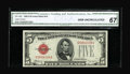 Small Size:Legal Tender Notes, Fr. 1529 $5 1928D Legal Tender Note. CGA Gem Uncirculated 67.. This is a pleasing example of the key to the regular issue of...