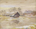 Fine Art - Painting, European:Modern  (1900 1949)  , KONSTANTIN ALEXEIEVITCH KOROVIN (Russian 1861-1939). RussianLandscape With Houses. Gouache on cardboard. 12-1/2 x 15-1/...