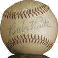 Autographs:Baseballs, 1948 Babe Ruth Single Signed Baseball. The consignor's notarizedletter of provenance is so charming, we'll let it do the t...