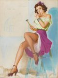 Illustration:Pin-Up, K.O. (KNUTE) MUNSON (American 20th Century). Girl with Hammer.Pastel on board. 32 x 24in.. Signed lower right. ...